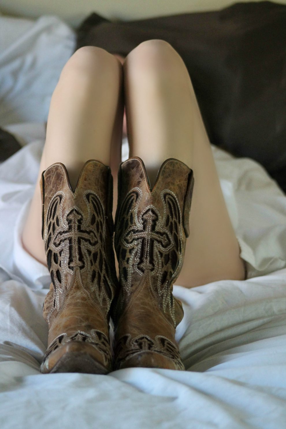 Leather brown boots for women